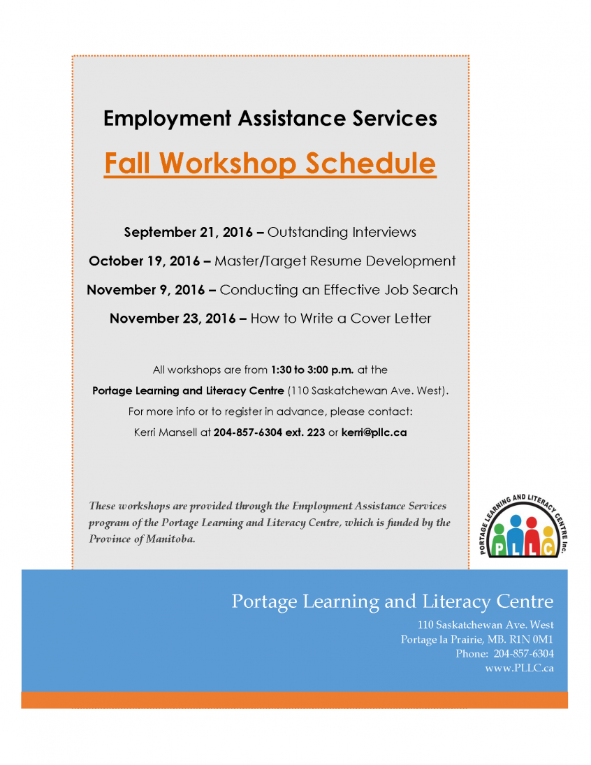 Upcoming EAS Workshop - How to Write a Cover Letter | Portage ...