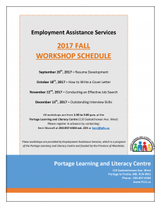 EAS Workshop - Resume Development @ Portage Learning and Literacy Centre | Portage la Prairie | Manitoba | Canada