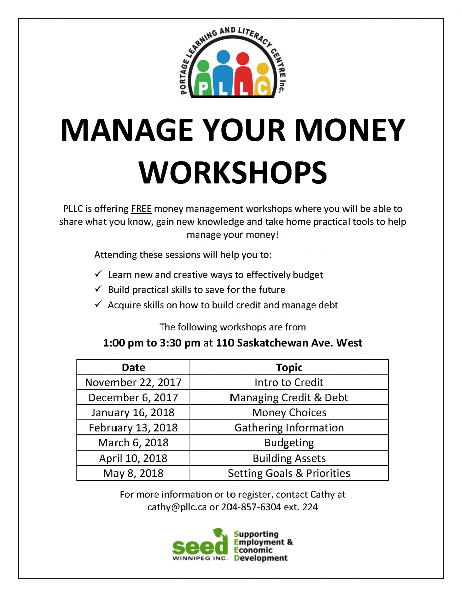 Manage Your Money Workshop - Intro to Credit @ Portage Learning and Literacy Centre | Portage la Prairie | Manitoba | Canada