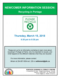 Newcomer Information Session - All about Recycling! @ Portage Learning and Literacy Centre | Portage la Prairie | Manitoba | Canada