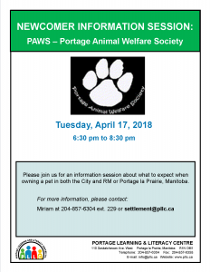 Newcomer Information Session - Portage Animal Welfare Society @ Portage Learning and Literacy Centre | Portage la Prairie | Manitoba | Canada