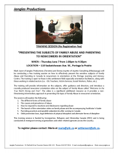Training on Family Abuse and Parenting in Canada @ Portage Learning and Literacy Centre | Portage la Prairie | Manitoba | Canada