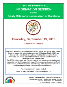 Treaty Relations Commission of Manitoba - Info Session @ Portage Learning and Literacy Centre   Portage la Prairie   Manitoba   Canada
