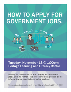 How to Apply for Government Jobs Workshop @ Portage Learning and Literacy Centre | Portage la Prairie | Manitoba | Canada