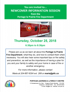Newcomer Information Session - Portage la Prairie Fire Department @ Portage Learning and Literacy Centre | Outlook | Saskatchewan | Canada