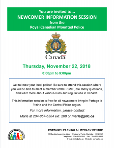 Newcomer Information Session - RCMP @ Portage Learning and Literacy Centre | Portage la Prairie | Manitoba | Canada