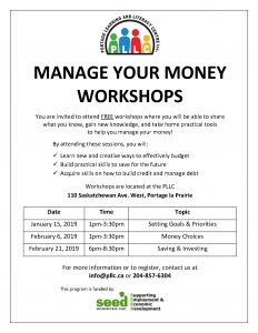 Manage Your Money Workshop - Money Choices @ Portage Learning and Literacy Centre | Portage la Prairie | Manitoba | Canada