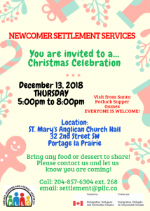 Newcomer Christmas Celebration @ St. Mary's Anglican Church Hall | Portage la Prairie | Manitoba | Canada