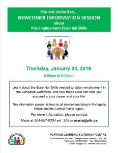 Newcomer Information Session - Pre-Employment Essential Skills @ Portage Learning and Literacy Centre