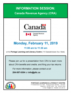 Information Session from Canada Revenue Agency @ Portage Learning and Literacy Centre