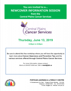 Newcomer Information Session - Cancer Awareness @ Portage Learning and Literacy Centre