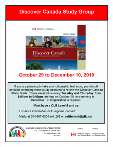 Discover Canada Study Group @ Portage Learning and Literacy Centre