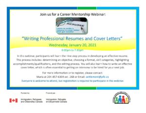 Career Mentorship Webinar - Writing Professional Resumes and Cover Letters @ Portage Learning & Literacy Centre