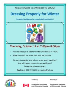 Dressing Properly for Winter - Webinar via ZOOM @ Portage Learning & Literacy Centre