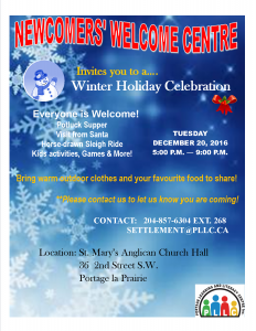 Newcomers' Holiday Celebration on December 20th