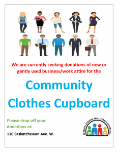 We are seeking donations for the Community Clothes Cupboard