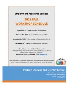 Employment Assistance Services Workshop Schedule!